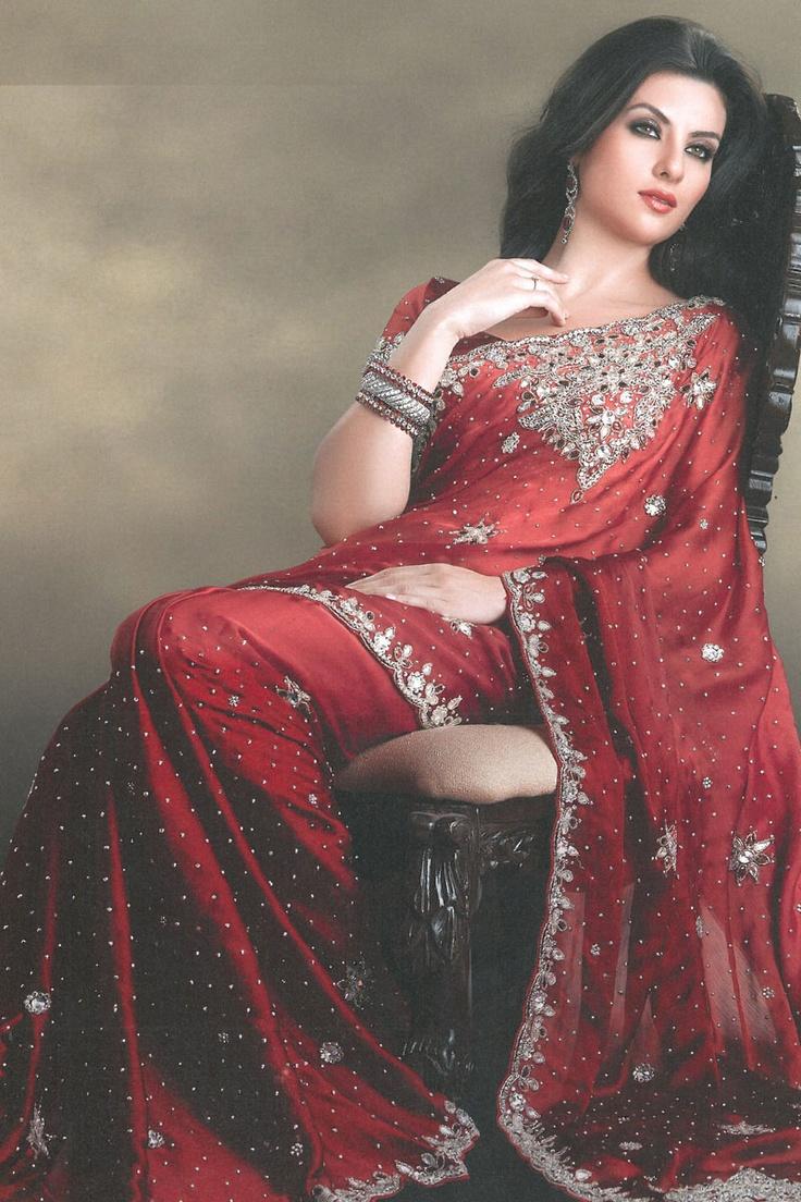 Designer Embroidered Wedding Saree; Cardinal Red Crepe Embroidered Wedding and Festival Saree. $184