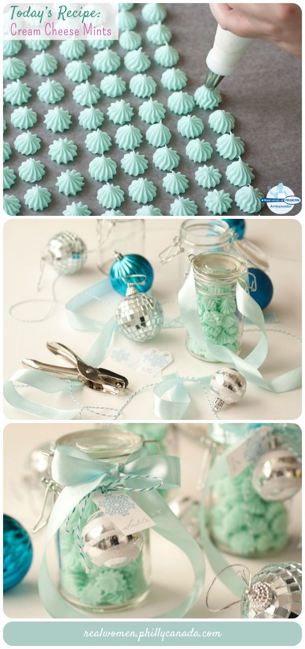 DIY Cream Cheese Mints - creamy, fresh, sweet and adorable. What's perfect is that you can customize their color to match pretty packaging. Pop into sweet little snap jars and wrap ribbons around them and topped each off with a silver ornament and little snowflake tag with silver writing. Super cute!