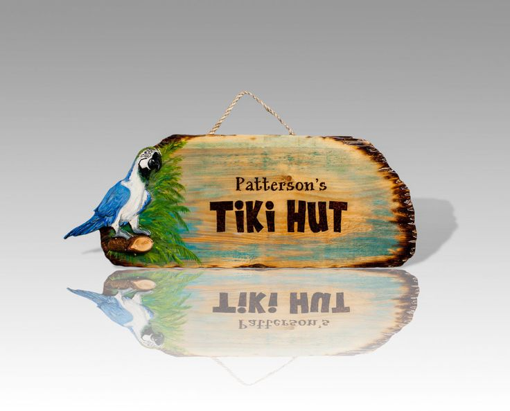 Tiki Bar & Pool Signs - Resin Coated and Personalized by Pyrography -  Inlay of Handmade Wooden Palm, Tiki, or Buyer's Suggested Inlay Ideas