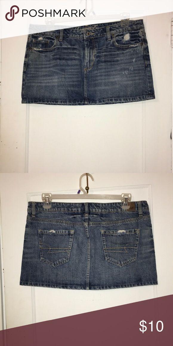 Jean Mini Skirt Light wash, lightly distressed, jean mini skirt American Eagle Outfitters Skirts Mini