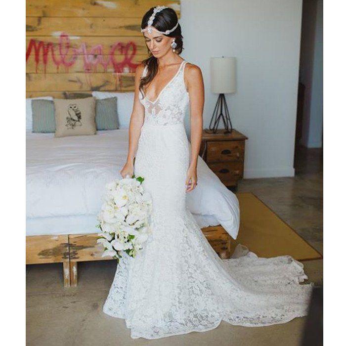 Affordable Lace V Neck Online Elegant Long Wedding Dresses, BG51575