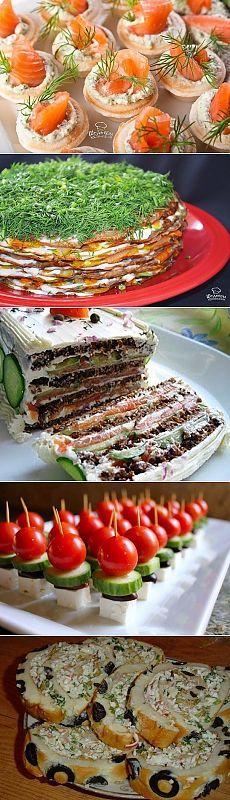 ПРАЗДНИК - ЗАКУСКИ !!!  **Икорная сказка - бутер-пирожное, Начинки для тарталеток - 11рецептов, Пикантный -салат из кабачков, Канапе на шпажках -7видов, Рулет-лаваш с креветками, Бутербродный торт,  Печеночный торт, Салат-жиле с овощами.