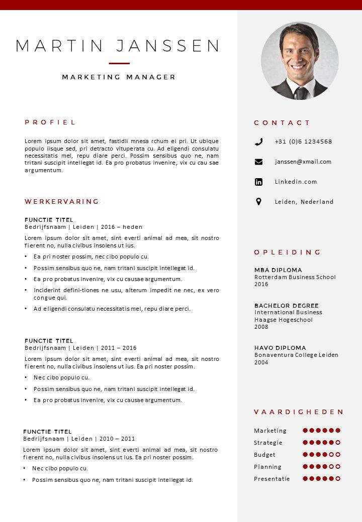 CV sjabloon in Word en PowerPoint. Opvallend met een professionele uitstraling.  Incl bijpassend sollicitatiebrief sjabloon. Direct downloadbaar http://deleydsche.nl/product/cv-sjabloon-30