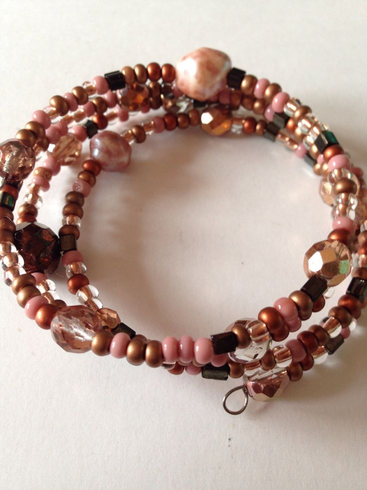 Terracotta sands memory wire bracelet by ChellysGems on Etsy