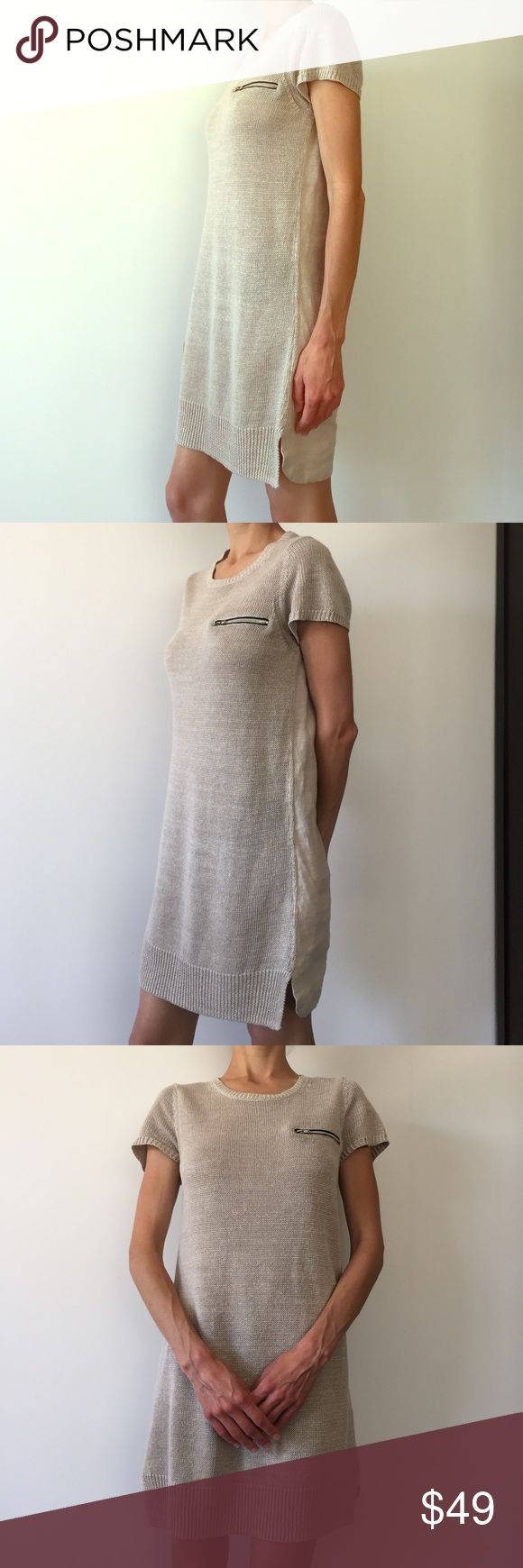 Massimo Dutti mod dress. 100% linen Grey Massimo Dutti dress with decorative silver zipper at chest. Short sleeves. Mid thigh length. European size 30. With original tags, barely worn Massimo Dutti Dresses Mini