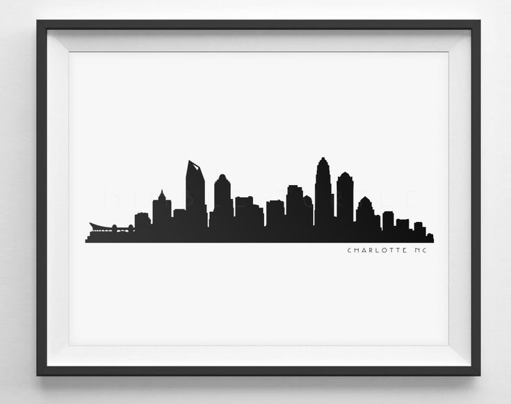Charlotte Skyline Black and White Silhouette  -  Instant Download to Print! Perfect for gallery walls