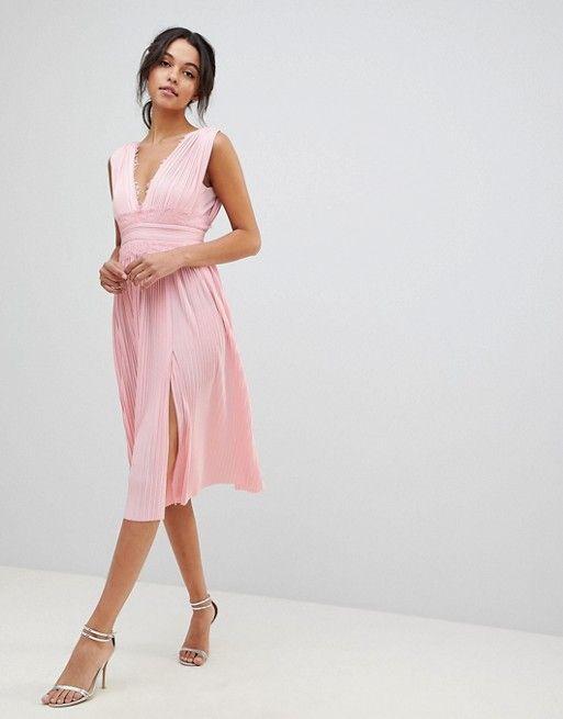 2a2f3363fecbb ASOS | ASOS DESIGN premium lace insert pleated midi dress | Wedding ...