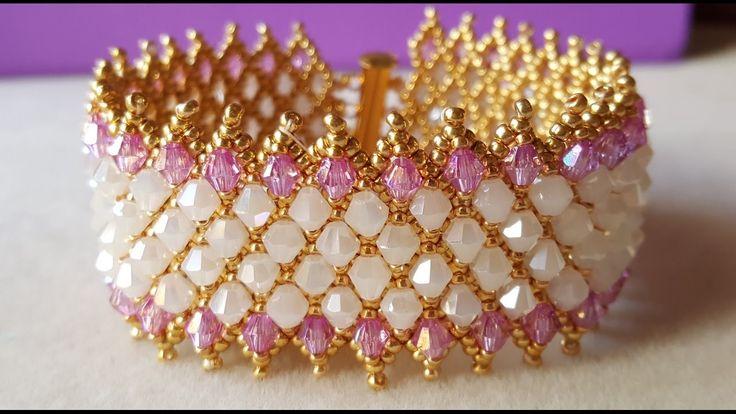 PULSERA CAPRICHO DE DIOSA - netted bracelet with embellishment ~ Seed Bead Tutorials