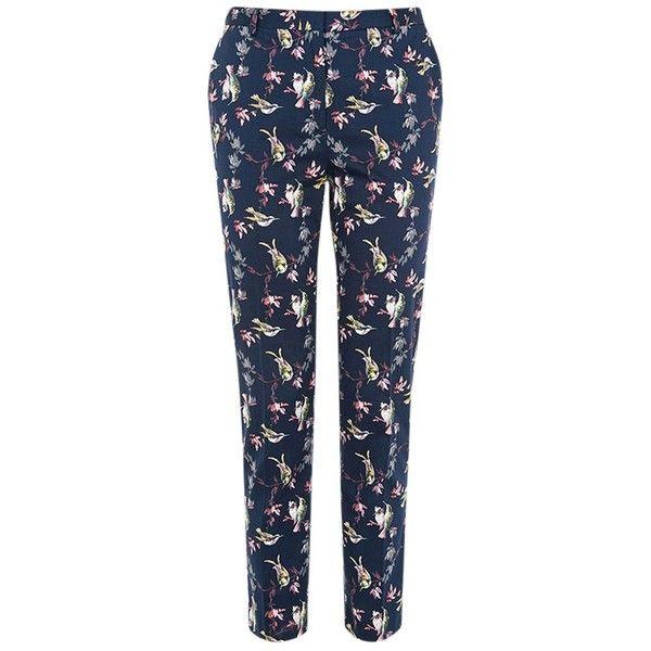 Oasis Hummingbird Print Trousers, Multi ($49) ❤ liked on Polyvore featuring pants, capris, stretch pants, blue trousers, stretchy pants, blue pants and cropped capri pants