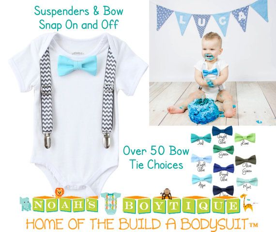Cake Smash Outfit Boy - Blue - Grey - Aqua - Suspenders - Bow Tie - Cake Smash Ideas - Cake Smash Set - Cake Smash Props - Cake Smashing  by Noah's Boytique on Etsy