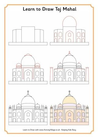 Lean To Draw The Taj Mahal and India Notebook Pages