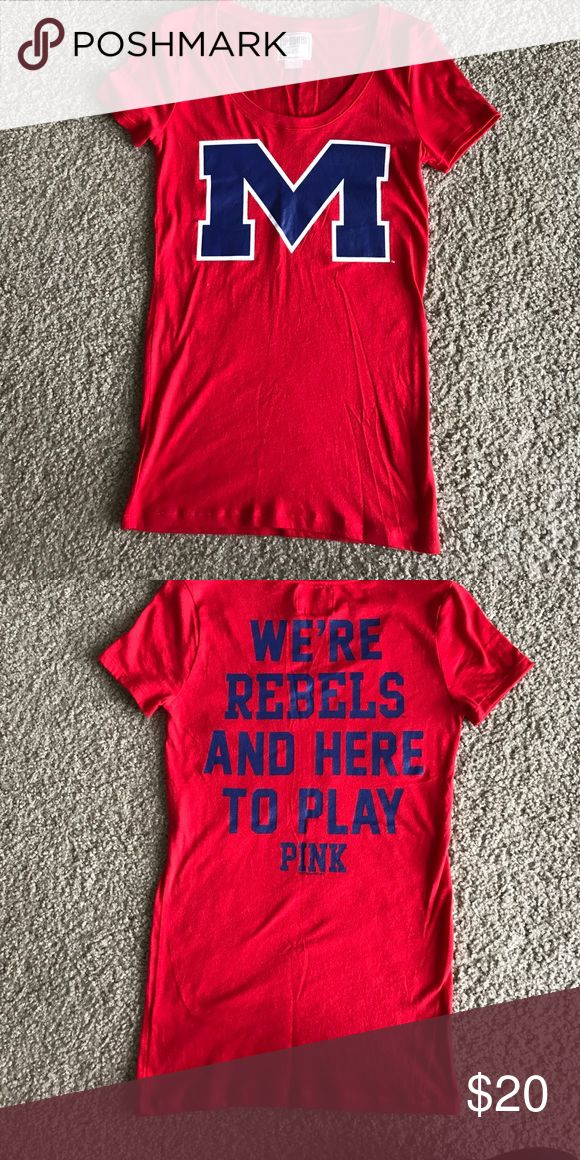 Victoria's Secret PINK Ole Miss Short Sleeve Shirt Victoria's Secret PINK Ole Miss Short Sleeve Shirt - size XS. Gently worn. **Hard to find** No stains, rips or tears. Smoke free home. Willing to bundle. PINK Victoria's Secret Tops Tees - Short Sleeve