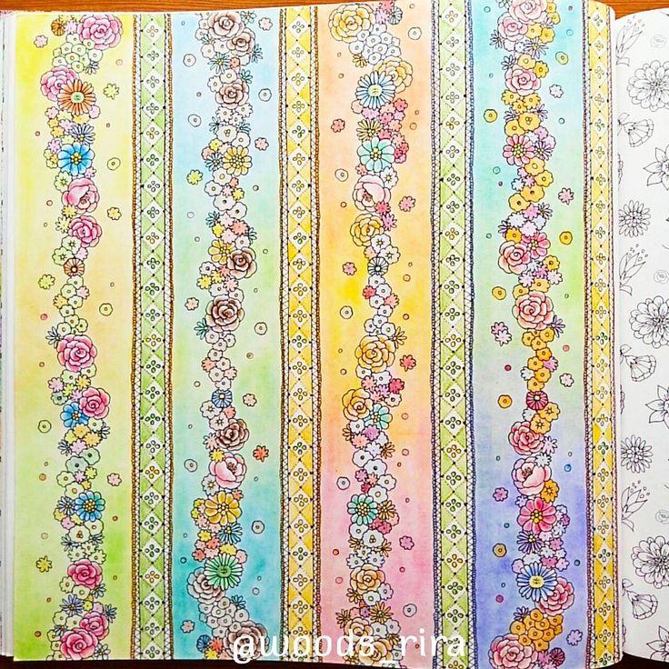 「野の花の文様」 The pattern of field flowers ・ 得意なものは何か。と聞かれても答えようがないけど、とりあえず文様は苦手と思う #田代知子 #お姫さまと妖精のぬり絵ブック #野の花の文様 #色鉛筆 #ダイソーパステル #大人の塗り絵  #tomoko_tashiro #princessesandfairiescoloringbook #field_flowers #coloredpencil #pastel #coloringbook #coloringforadult