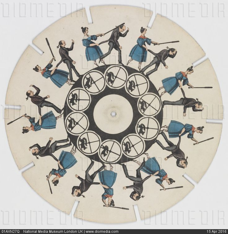 Phenakistoscope disc Woman beating a man with a stick