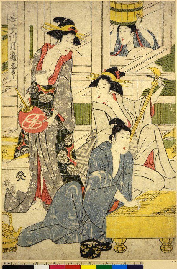Ukiyo-e print by Kitagawa Tsukimaro: Relaxing in a bath-house #go #igo #baduk #weiqi