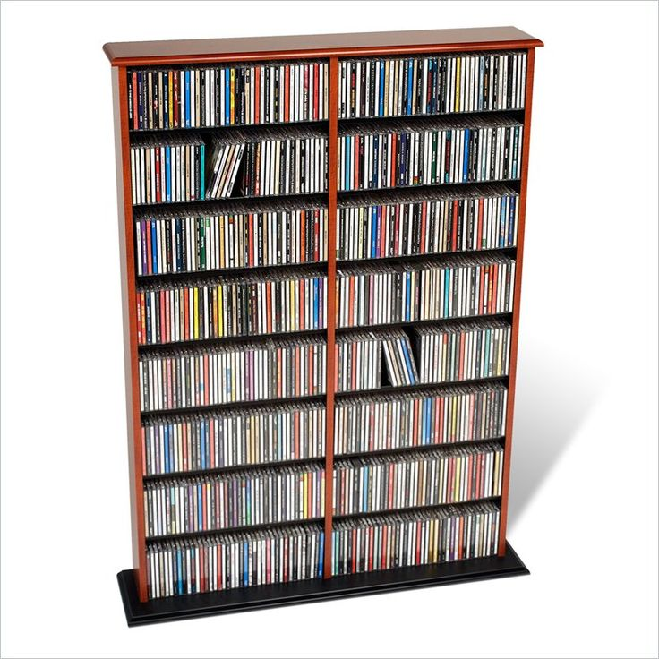 Prepac Double Width CD DVD Wall Storage in Cherry and Black 125*