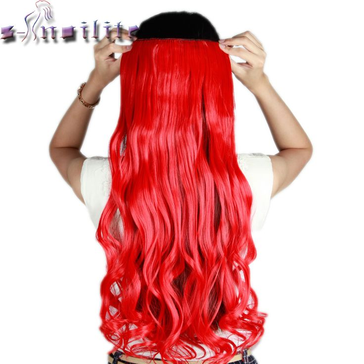 """S-noilite 61CM 24"""" RED Curly wavy Long Women One Piece Clip in Hair Extensions Real Synthetic hairpiece for Cosplay Party"""