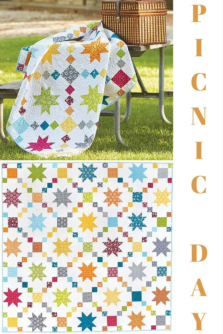 Bright and breezy best describes this cool quilt pattern. Summer quilts have a way of lightening the mood and this quilt certainly does that! And, Picnic Day is fat quarter friendly!