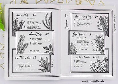Bujo, Bullet Journal, Inspiration, Idea, Ideen, Bullet Journal Layout, Planner, Weekly, Weeklyspread, Bujoweekly, Wochenübersicht, Calender, Kalender, floral