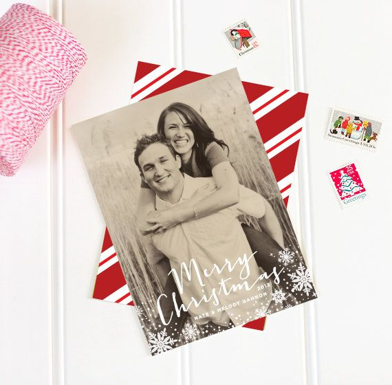 Merry Christmas Photo Card  Snowflake Holiday by paperandparcel, $25.00