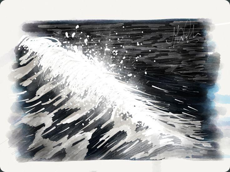 Cayton Bay wave break Created using the app 'Paper' iPad artwork