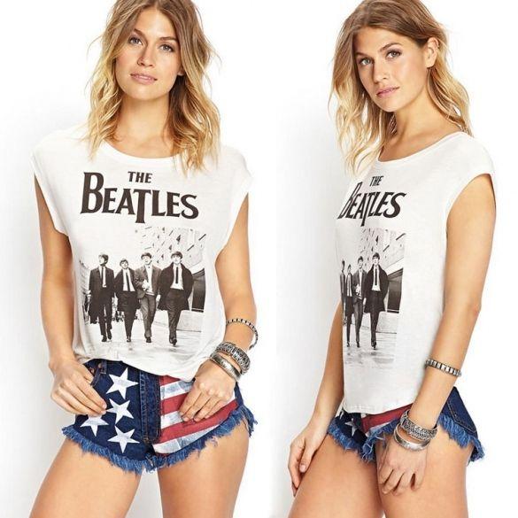 Stylish Lady Women's Fashion Casual Leisure Cap Sleeve Character Print Irregular T-Shirt