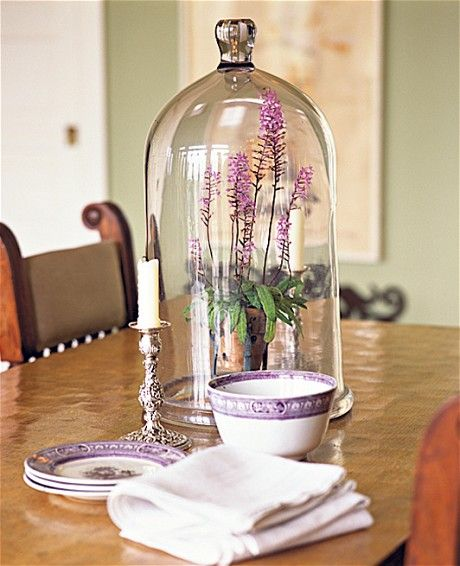 Cloche Terrarium wit potted purple flower- Tabletop design