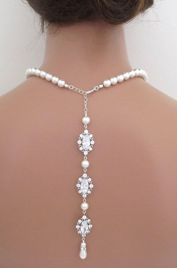 Backdrop necklace, bridal pearl necklace, wedding back drop necklace, rhinestone necklace, statement necklace