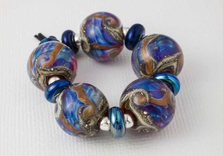galaxy lampwork beads by ciel creations