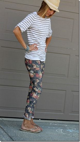 stripes, floral jeans, fedora