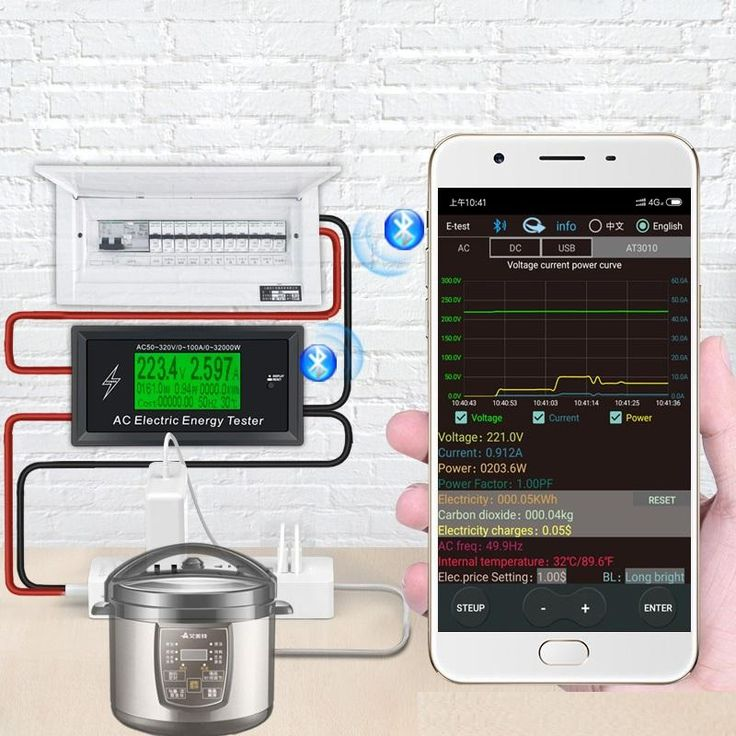 AT3010 AC50~320V 100A 3KKW Phone App <b>AC Meters Digital</b> ...