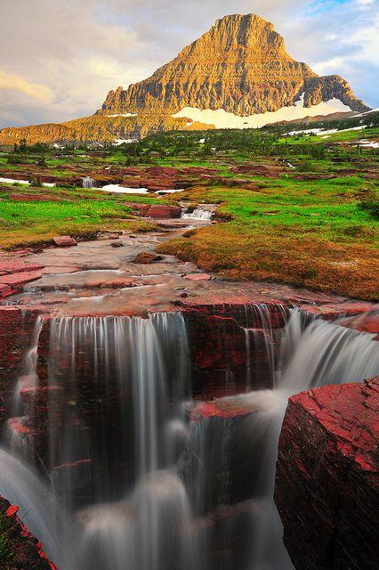 Triple Falls with Reynolds Mountain, Glacier National Park, Siyeh Bend, Montana