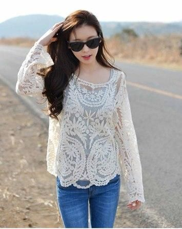 Elegant lace top with wide neck, full sleeves featuring scalloped hem - cooliyo.com