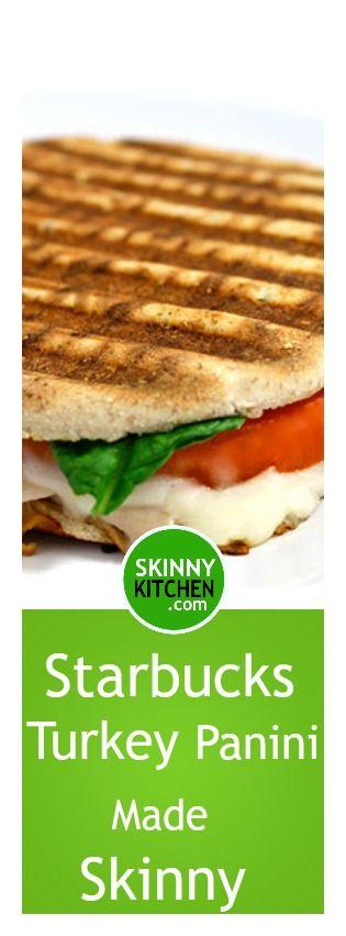 Starbucks Turkey Rustico Panini Made Skinny. I love this sandwich at Starbucks & created this home version. Each has 278 calories, 8g fat & 7 SmartPoints. http://www.skinnykitchen.com/recipes/starbucks-turkey-rustico-panini-made-skinny/