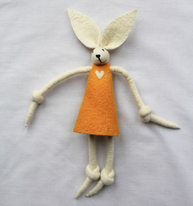 Beautiful handmade felt fun bunnies - put a spring in your little one's step with girl, boy or carrot bunnies. See more at wolfandapple.co.uk