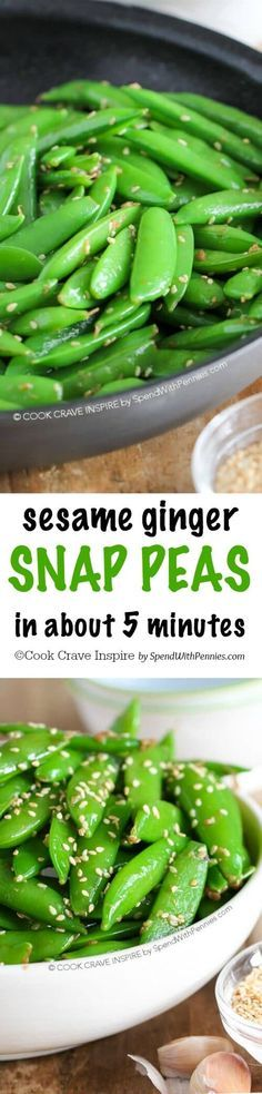 Sesame Ginger Snap Peas! A quick and easy Asian inspired side dish. This is ready in about 5 minutes and the perfect side with chicken or salmon! /spendpennies/