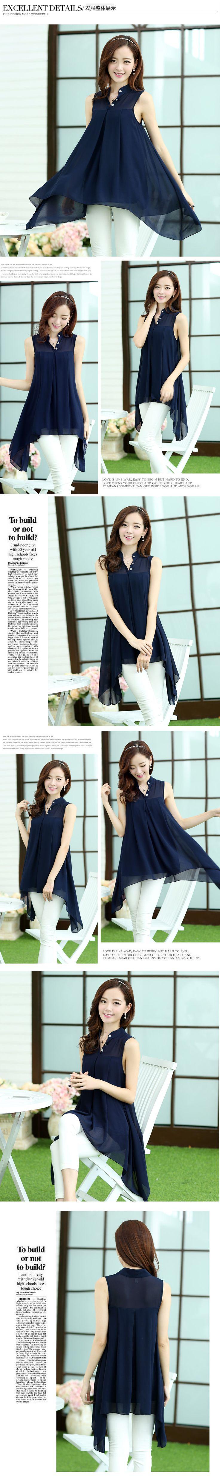 2015 bahar yeni Kore uzun paragraf kolsuz şifon gömlek bluz büyük boy gömlek kadın yaz düzensiz - Taobao