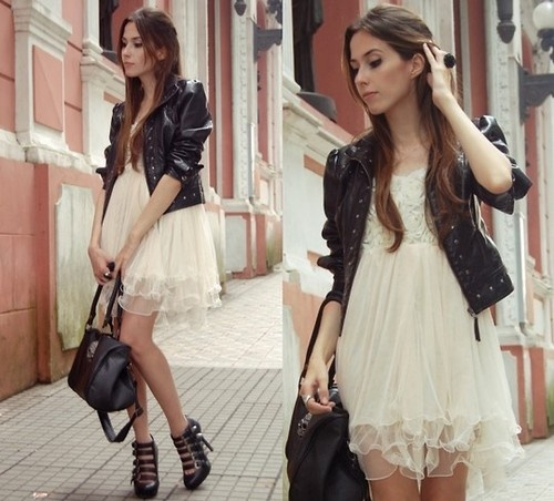 I like the mix of super classy with the b.a. jacket.. I don't think i could pull the dress off though, it's SO frilly. Maybe for an extremely nice dinner or something