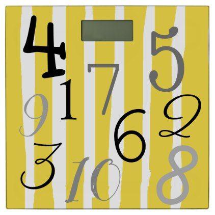 Numbers Yellow White and Black Bathroom Scale - bathroom idea ideas home & living diy cyo bath