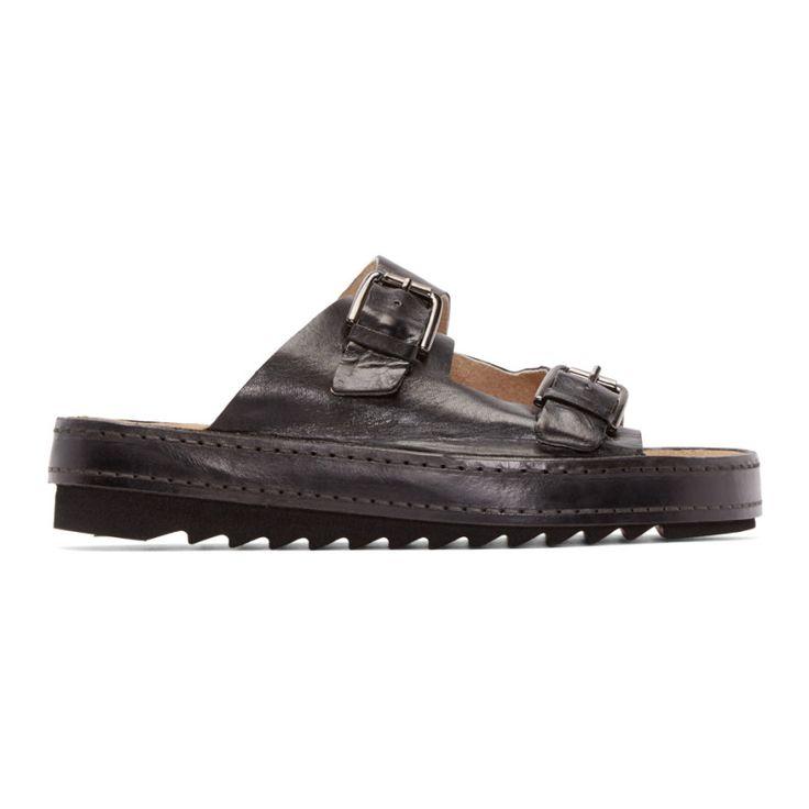 Diesel - Black Leather Dou Sandals