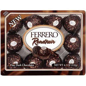 Ferrero Rondnoir: Fine Dark Chocolates, 4.2 oz  these will always be accepted as peace offerings. They are quite wonderful. The only kind of ferrero that I like.
