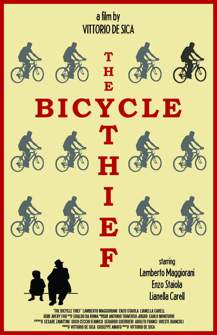 """Alternate poster for """"The Bicylce Thief"""" #film #bicycle #Italian #design  This is an original design, please do not reproduce without my permission."""