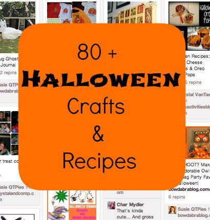 80 + Halloween Crafts and Recipes: Susieqtpi Cafe, Crafts Ideas, Fall Crafts, Crafts Recipes, Halloween Crafts, Crafts Projects, Fall Halloween, Diy Craft, 80 Halloween