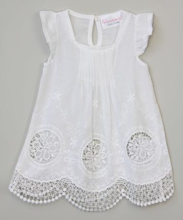Another great find on #zulily! White Triple-Flower Angel-Sleeve Dress - Toddler & Girls #zulilyfinds