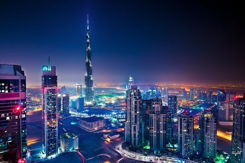 Wow Dubai Skyline At Night Such A Beautiful Place Modern High Rises Pinterest