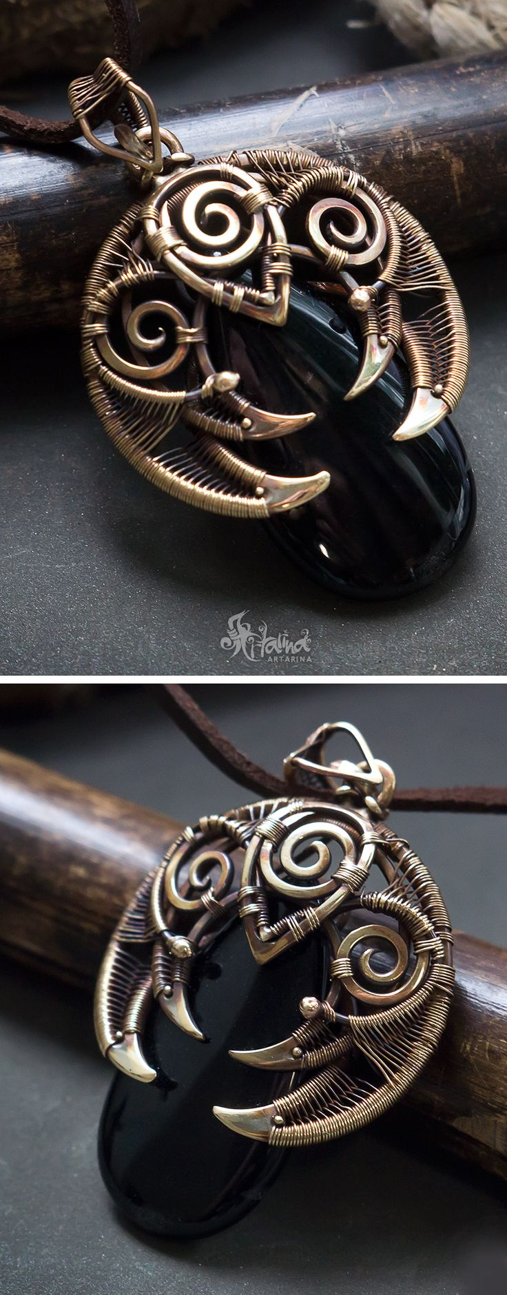 Black agate wire wrapped pendant