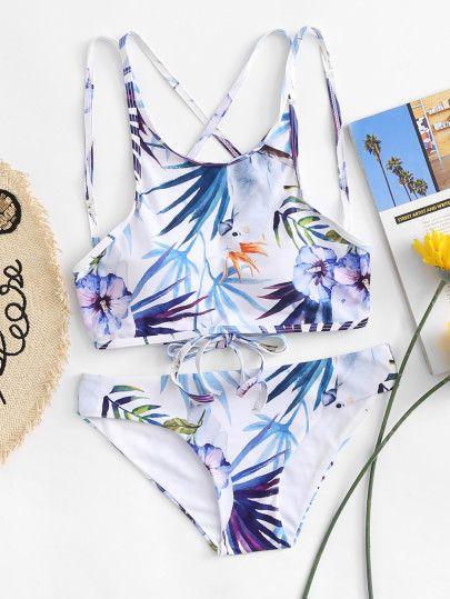 0a1720e0fe Leaf Print Cross Back Bikini Set -SheIn(Sheinside)