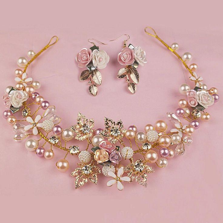 Handmade Crystal and pearl Tiara & Earrings