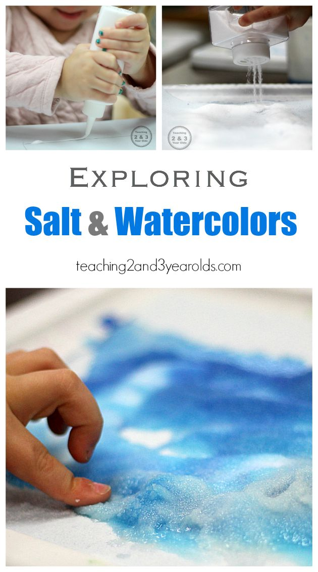 Salt and Watercolor Art - a fun science activity at the art table for preschoolers! Teaching 2 an 3 Year Olds