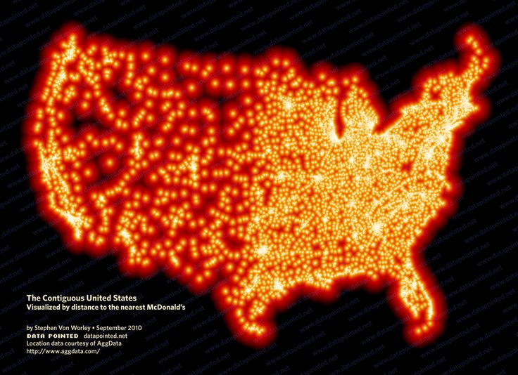 The Contiguous United States Visualized by distance to the nearest McDonald's ... Does anyone eat at home anymore  The farthest you can be from a McD is 145 miles in ND: North Dakota, Data Visual, Nearest Mcdonald'S, South Dakota, Restaurant, U.S. States, Fast Food, United States, Big Mac